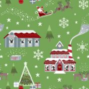 Lewis & Irene - Christmas Glow - 6701 -  North Pole Scene on Green - C47.2 - Cotton Fabric